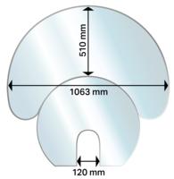 Aduro Hybrid Glasbodenplatte Halbmond, zweiteilig / Vorlegeplatte