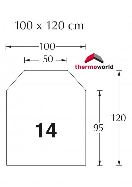 Ofen Stahlbodenplatte 100 x 120 cm Sechseckig, vorne trapezförmig