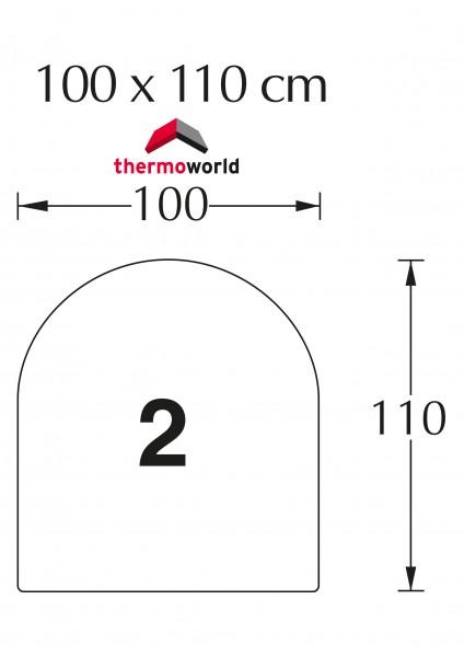 Ofen Glasbodenplatte 100 x 110 cm Rechteck mit Rundbogen