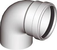 Warmluftrohr Ø 60mm, Bogen 90° Weiß