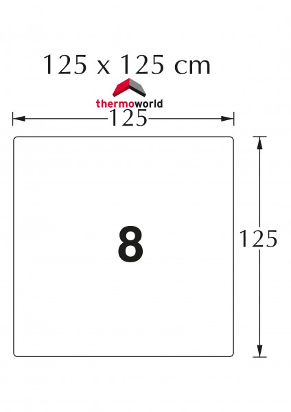 Ofen Glasbodenplatte 125 x 125 cm Quadrat