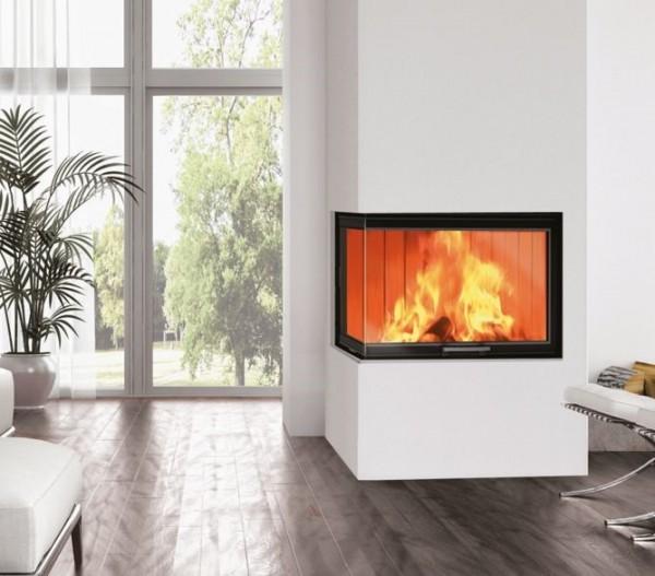 EdilKamin Windo2 - 75 Holz-Kamineinsatz 12 kW, Scheibe L Form
