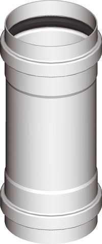 Warmluftrohr Ø 60mm Weiß, Verbindung Muffe/Muffe F/F, L: 15cm