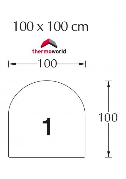 Ofen Glasbodenplatte 100 x 100 cm Rechteck mit Rundbogen