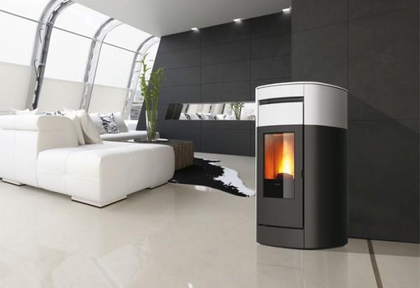 EdilKamin Vyda Keramik Pelletofen 14 kW, kanalisierbar + 4 weitere Räume