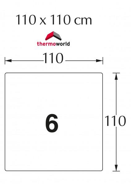 Ofen Glasbodenplatte 110 x 110 cm Quadrat