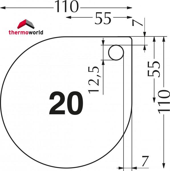 Ofen Glasbodenplatte 110 x 110 cm Tropfenform + Extra-Loch