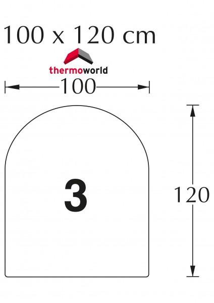 Ofen Glasbodenplatte 100 x 120 cm Rechteck mit Rundbogen