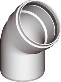 Warmluftrohr Ø 80mm, Bogen 45° Weiß