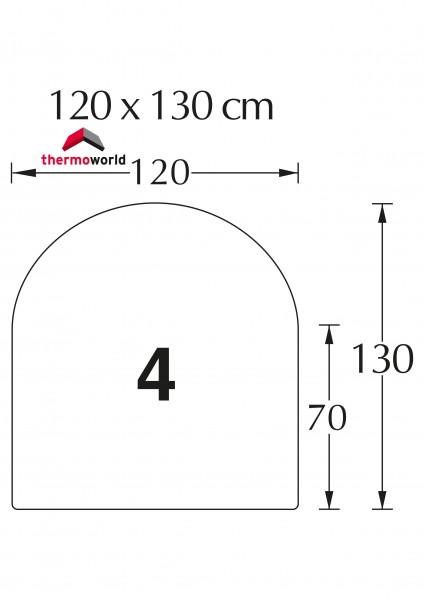 Ofen Glasbodenplatte 120 x 130 cm Rechteck mit Rundbogen