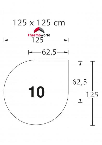 Ofen Glasbodenplatte 125 cm x 125 cm Tropfen Form