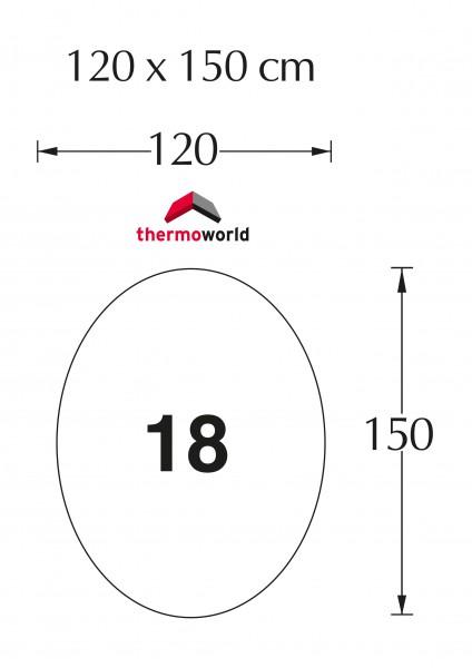 Ofen Glasbodenplatte 120 x 150 cm Oval für drehbare Öfen
