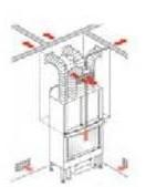 Kit 4 Kanalisierung für Kamin-Aufstellungsraum + 3 Nebenräume 4 Luftausgänge