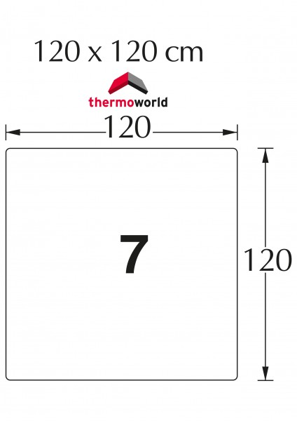 Ofen Glasbodenplatte 120 x 120 cm Quadrat