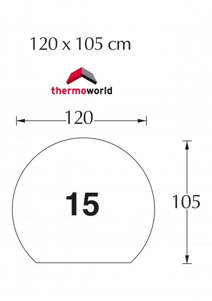 Ofen Glasbodenplatte 120 x 105 cm Kreisabschnitt