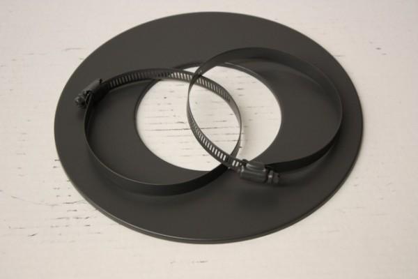 Rosette für Alu-Flexrohr, Ø 125mm, Schwarz, inkl. Schellen